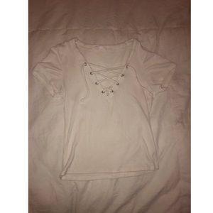 white v-neck blouse